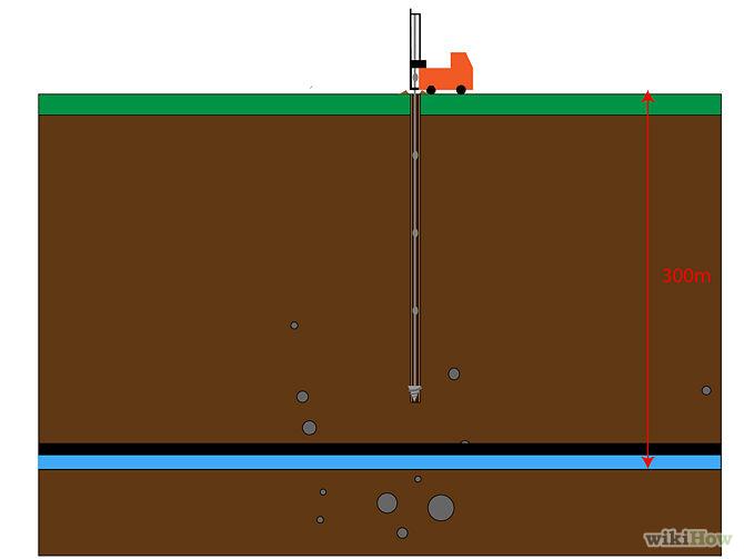 Бурение скважины к водоносному слою